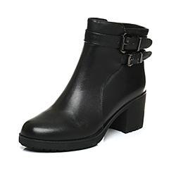 Senda/森达冬季专柜同款气质女短靴粗高跟皮带扣N3K43DD6
