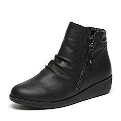 Senda/森达冬季专柜同款舒适休闲女短靴小坡跟褶皱N3R43DD6