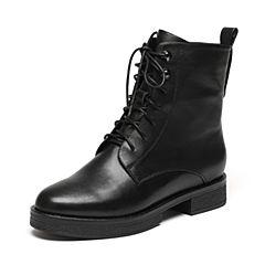 Senda/森达冬季专柜同款帅气休闲绑带女中靴方跟马丁靴3WZ20DZ6