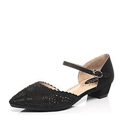 Senda/森达2017春季专柜同款黑膜羊皮/黑网布女鞋B4F19AK7