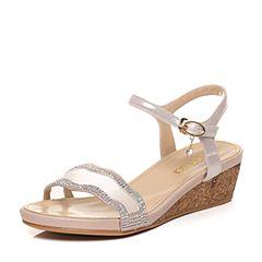 Senda/森达夏季专柜同款时尚甜美女坡跟凉鞋G3H05BL7