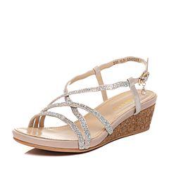 Senda/森达夏季专柜同款时尚优雅气质坡跟女凉鞋G3H11BL7