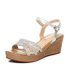Senda/森达夏季专柜同款时尚优雅舒适休闲坡跟女凉鞋G3I11BL7