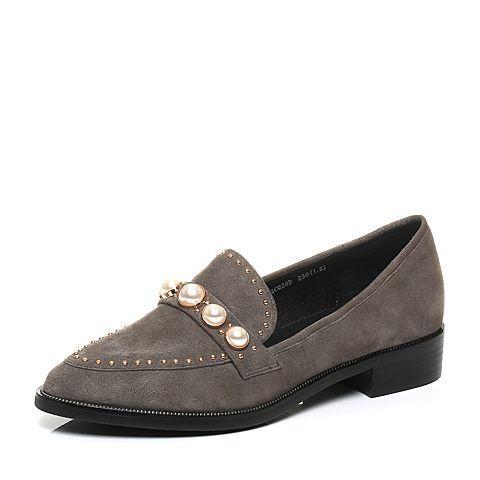 Senda/森达秋季专柜同款时髦舒适绒面女单鞋3CO20CM7