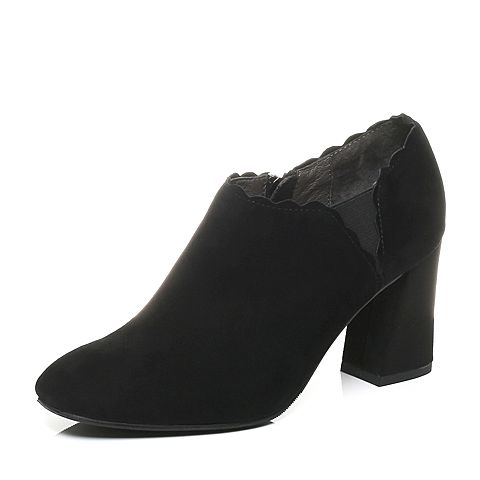 Senda/森达2017秋季专柜同款时尚优雅气质绒面女高跟鞋VAL20CM7