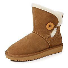 Senda/森达2017冬季新款舒适绒里女短靴厚底韩版雪地靴6859DDD7