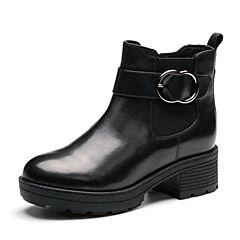 Senda/森达2017冬季新款专柜同款时尚气质女短靴中粗跟VBP42DD7