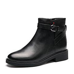 Senda/森达2017冬季新款专柜同款时尚气质女短靴皮带扣VDX41DD7