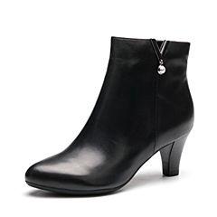 Senda/森达冬季专柜同款优雅气质女短靴粗高跟VBY41DD7