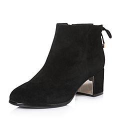 Senda/森达冬季专柜同款时尚韩版羊绒面粗高跟女短靴3DV10DD7