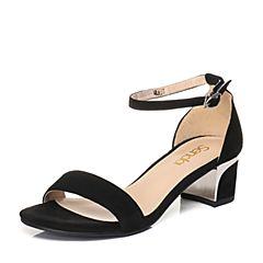 Senda/森达夏季专柜同款时尚甜美女粗跟凉鞋VBU01BL7