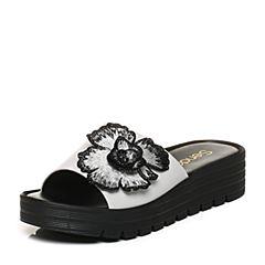 Senda/森达夏季专柜同款休闲花朵大方坡跟女凉拖鞋3LA02BT7