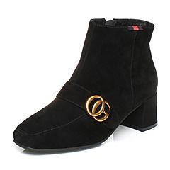 Senda/森达2017冬季新款羊绒面女短靴方头皮带扣粗高跟508-2DD7
