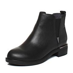 Senda/森达2017冬季新款时尚舒适牛皮女短靴韩版切尔西靴67-13DD7