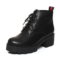 Senda/森达2017冬季新款时尚帅气女短靴厚底粗高跟马丁靴81-16DD7