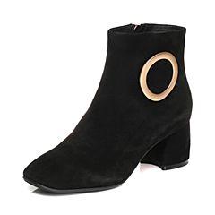 Senda/森达2017冬季新款气质OL绒面女短靴方头韩版粗中跟408-1DD7