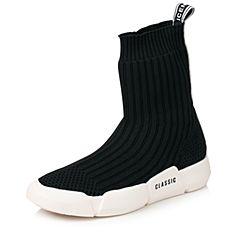 Senda/森达2017冬季新款时尚简约弹力布厚底中筒女袜靴28-1ADZ7