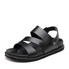 Senda/森达2018夏季新款专柜同款休闲男凉鞋真皮沙滩鞋LU114BL8