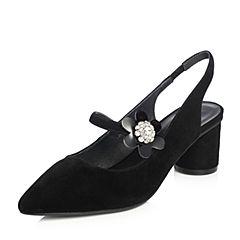 Senda/森达2018夏季新款专柜同款羊绒面女高跟凉鞋4CJ01BH8