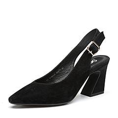 Senda/森达2018夏季新款专柜同款气质真皮女高跟凉鞋4CX01BH8