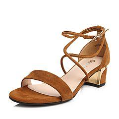 Senda/森达2018夏季新款专柜同款绑带羊绒皮女中粗跟凉鞋VBU33BL8