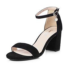 Senda/森达2018夏季新款专柜同款时尚一字扣女粗高跟凉鞋VIA31BL8