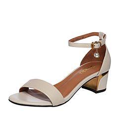 Senda/森达2018夏季新款专柜同款一字带女粗高跟凉鞋VBU30BL8