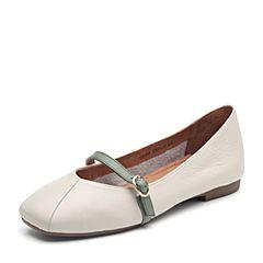 Senda/森达2018秋季新款专柜同款舒适平底玛丽珍女单鞋VBIA6CQ8
