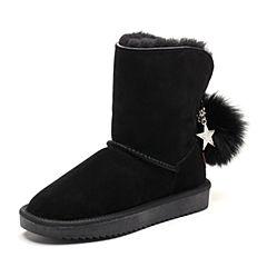 Senda/森达2018冬季新款专柜同款时尚街头休闲女雪地靴VQU41DD8