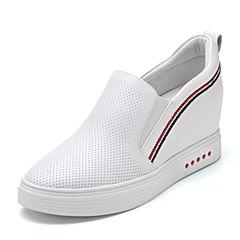 Senda/森达2018秋季新款专柜同款时尚打孔舒适女休闲鞋3JH01CM8