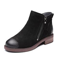 Senda/森达2018冬季新款专柜同款韩版潮流女休闲短靴4FG01DD8