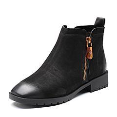 Senda/森达2018冬季新款专柜同款简约休闲方跟女短靴4FM01DD8