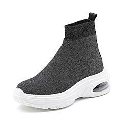 Senda/森达2018冬季新款专柜同款韩版运动风女短靴袜靴4FB01DD8