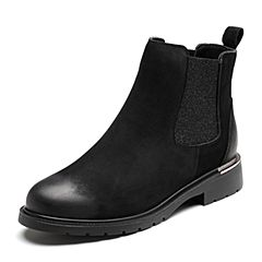Senda/森达2018冬季新款专柜同款街头潮流女切尔西短靴VQQ40DD8