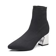 Senda/森达2018冬季新款专柜同款飞织帮面性感女短袜靴VKO41DD8