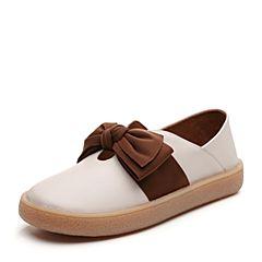 Senda/森达2019春季新款专柜同款简约蝴蝶结女小皮鞋单鞋3LD01AM9