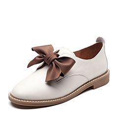 Senda/森达2019春季新款专柜同款甜美蝴蝶结女小皮鞋3KR01AM9