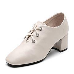Senda/森达2019春季新款专柜同款通勤风粗高跟女皮单鞋3KP01AM9