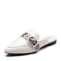 Senda/森达2019春季新款专柜同款时尚尖?#33778;?#24102;扣女穆勒鞋3KO10AH9