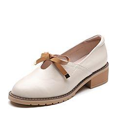 Senda/森达2019春季新款专柜同款甜美学生蝴蝶结女小皮鞋3KQ10AM9
