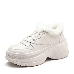 Senda/森达2019春季新款专柜同款绒毛厚底休闲女老爹鞋3RC01AM9