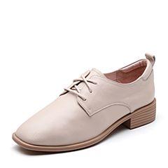 Senda/森达2019春季新款简约舒适休闲女小皮鞋单鞋TX915AM9