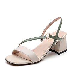 Senda/森达2019夏季新款专柜同款时尚清爽粗高跟女凉鞋4JV01BL9
