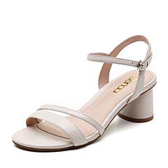 Senda/森达2019夏季新款专柜同款时尚一字带粗跟女凉鞋4JP01BL9