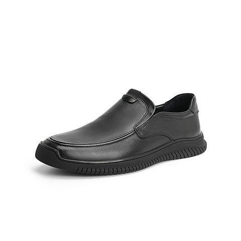 森達2021秋季新款商場同款簡約套腳平跟男休閑皮鞋1VX13CM1