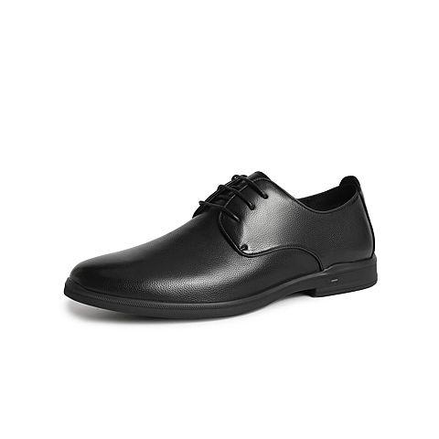 森達2021秋季新款商場同款英倫系帶平跟正裝商務男皮鞋1VL19CM1