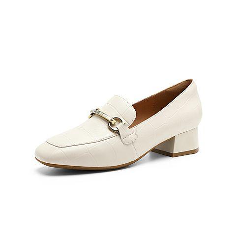 森達2021秋季新款商場同款歐美馬銜扣石頭紋粗跟女單鞋3QM01CA1