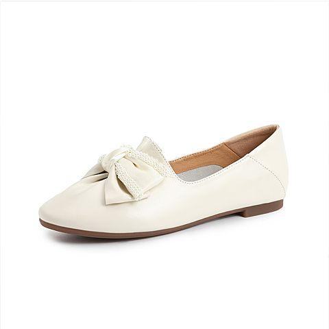 森達2021秋季新款商場同款甜美蝴蝶結舒適平底女單鞋3WU01CA1
