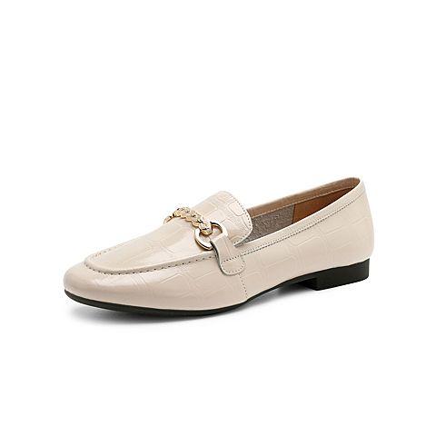 森達2021秋季新款商場同款石頭紋馬銜扣氣質女單鞋3WR01CA1