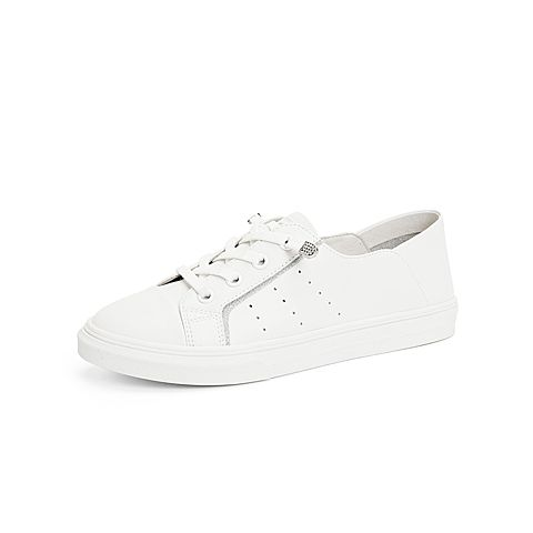 森達2021秋季新款商場同款簡約青年舒適休閑女小白鞋VZUG4CM1